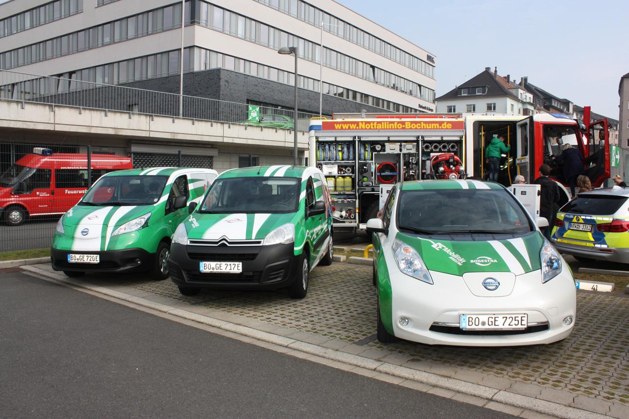 Neue E-Autos der Bogestra mit Ladesäulen Foto: Katja Nikolic